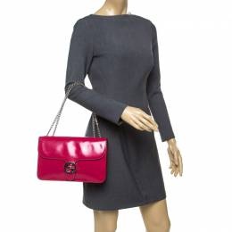 Gucci Hot Pink Patent Leather GG Interlocking Shoulder Bag 177468