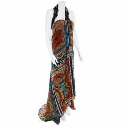 Etro Multicolor Printed Silk Bustier Maxi Wrap Dress M 180007
