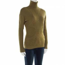 Alexander McQueen Green Patterned Knit Wool Turtleneck Sweater L