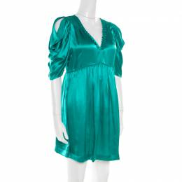 See By Chloe Green Plunge Neck Applique Detail Satin Dress S 180462