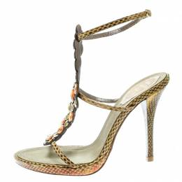Rene Caovilla Yellow Embossed Python Leather Crystal Embellished Strappy Sandals Size 37.5 178089