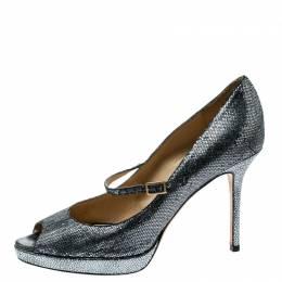 Jimmy Choo Silver Glitter Embellished Fabric Mary Jane Peep Toe Pumps Size 39.5
