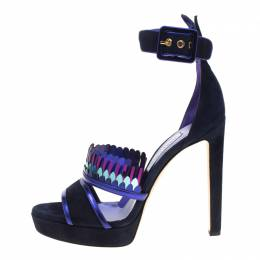 Jimmy Choo Navy Blue Suede Kathleen Peep Toe Ankle Cuff Sandals Size 41 180784