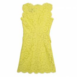 Valentino Yellow Floral Lace Scalloped Trim Bow Detail Peplum Dress S 180437