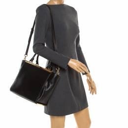 MICHAEL Michael Kors Black Leather Top Handle Bag 180714