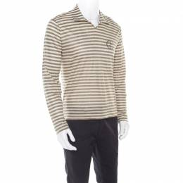 Giorgio Armani Sage Green Linen Striped Jersey Polo T-Shirt 3XL