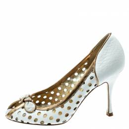Dolce&Gabbana White/Gold Perforated Leather Bow Detail Peep Toe Pumps Size 36.5 180648