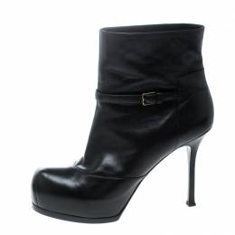 Saint Laurent Paris Black Leather Platform Ankle Boots Size 40.5