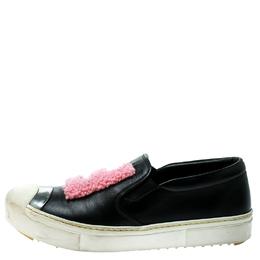 Fendi Black Leather Fflynn Shearling Fur Slip On Sneakers Size 40 181298