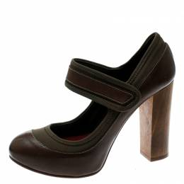 Chloe Brown Leather And Khaki Fabric Mary Jane Block Heel Platform Pumps Size 38 181993