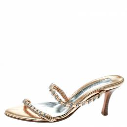 Sergio Rossi Metallic Gold Leather Crystal Embellished Cross Over Open Toe Sandals Size 35 182054