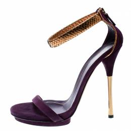 Gucci Purple Suede And Metallic Python Kelis Ankle Strap Sandals Size 41 182135