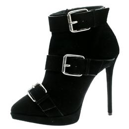 Giuseppe Zanotti Design Black Buckled Suede Platform Ankle Boots Size 38 182106