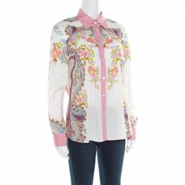 Etro Multicolor Floral and Paisley Printed Long Sleeve Shirt L 181951
