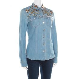 Roberto Cavalli Embellished Faded Effect Denim Long Sleeve Shirt M 182151