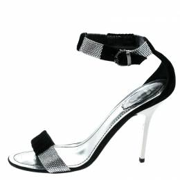 Rene Caovilla Black Suede And Velvet Crystal Embellished Ankle Strap Open Toe Sandals Size 38.5