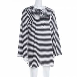 Dolce&Gabbana Monochrome Striped Cotton Long Sleeve Beach Tunic M 182700