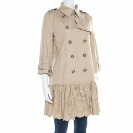 Red Valentino Beige Cotton Twill Eyelet Embroidered Ruffled Double Breasted Coat M 182168