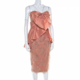 Badgley Mischka Collection Copper Metallic Lace Overlay Strapless Kimono Dress L 182198