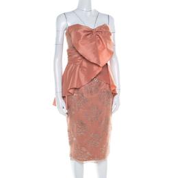 Badgley Mischka Collection Copper Metallic Lace Overlay Strapless Kimono Dress L 182198