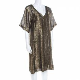 Isabel Marant Black and Gold Lurex Striped Sheer Tunic M 182346