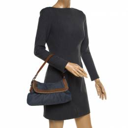 Fendi Blue Denim Chef Shoulder Bag 182608