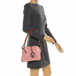 Valentino Pink/Brown Fabric and Leather Logo Charm Shoulder Bag 183034