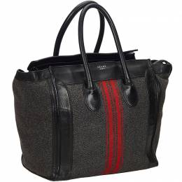 Celine Black Wool And Leather Medium Racer Stripe Bag 132212
