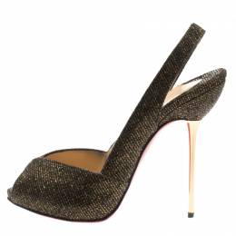 Christian Louboutin Black And Gold Glitter Fabric Peep Toe Slingback Sandals Size 38.5 183067