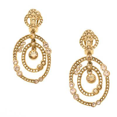 Oscar De La Renta Crystal Gold Tone Dangle Clip-on Earrings 183887 - 1
