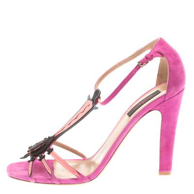 Valentino Pink Suede And Leather Love Blade T Strap Sandals Size 40 183940 - 1