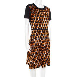 Prada Black and Orange Geometric Printed Crepe Short Sleeve Dress M 183667