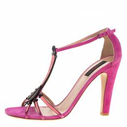 Valentino Pink Suede And Leather Love Blade T Strap Sandals Size 41 184160