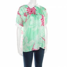 Etro Mint Green and Pink Floral Printed Silk Polo T-Shirt M 183729