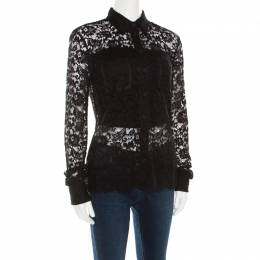 D&G Black Floral Lace Long Sleeve Button Front Scalloped Bottom Shirt S Dandg 184241