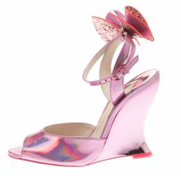 Sophia Webster Metallic Pink Holographic Leather Rizzo Ankle Strap Chrome Wedge Sandals Size 36.5