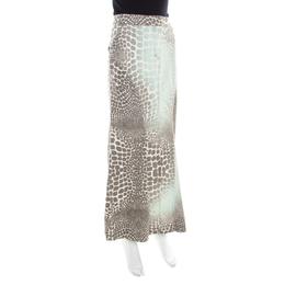 Roberto Cavalli Multicolor Animal Printed Cotton Maxi Skirt M 183791