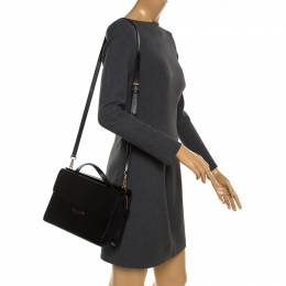 Fendi Black Textured Leather Small Demi Jour Top Handle Bag 184557