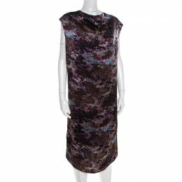 Yves Saint Laurent Paris Black Printed Satin Tie Detail Dress S 184476