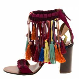 Chloe Multicolor Leather And Suede Tassel Detail Block Heel Sandals Size 39 186927