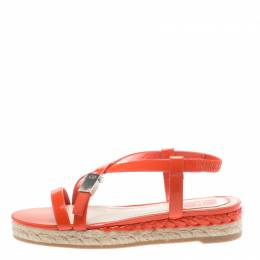 Dior Orange Leather Cross Strap Espadrille Flat Sandals Size 38 184539