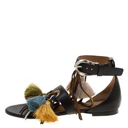 Chloe Black Leather Tassel Detail Ankle Cuff Flat Sandals Size 36.5 183912