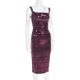 Herve Leger Prune Sequined Bandage Dress M 185248