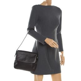 Bally Black Leather Flap Shoulder Bag 185851