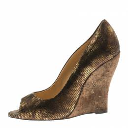 Oscar De La Renta Metallic Bronze Leather Romana Cork Wedge Peep Toe Pumps Size 40 186092