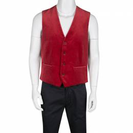 Etro Red Velvet Printed Silk Panel Detail Minete Vest L 135335