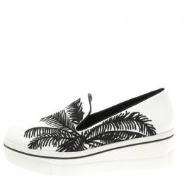 Stella McCartney Monochrome Faux Leather Binx Palm Tree Embroidered Platform Slip On Sneakers Size 40 186790