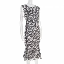 Escada Monochrome Lace Printed Silk Sleeveless Flounce Midi Dress XL 186507