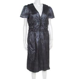 Burberry London Metallic Silver Jacquard Plunge Neck Short Sleeve Dress M 186485