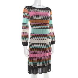 M Missoni Multicolor Lurex Chevron Patterned Knit Neck Tie Detail Dress M 186358